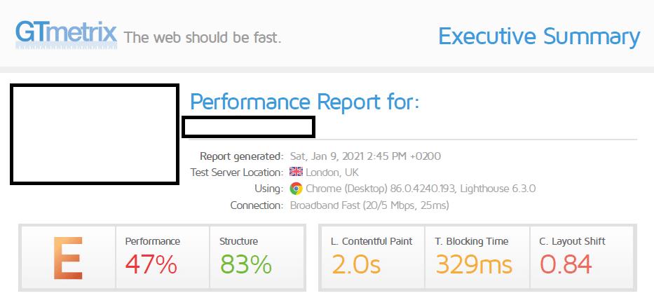 gtmetrix perfomance before optimization
